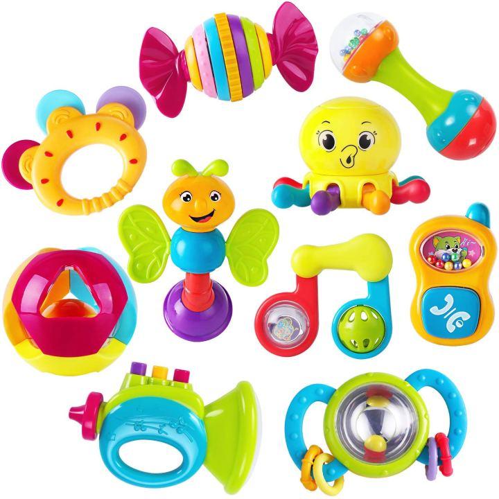 המלצות לבייבי: מארז 10 צעצועי התפתחות לתינוקות בגיל 3, 6, 9, 12חודשים